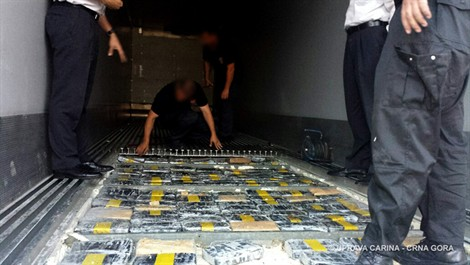 Montenegro customs officers seized 250kg of cocaine in the port of Bar