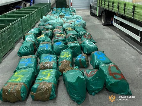 "Joint Customs-police operation ""Trak"" discovered about half a ton of the narcotic drug marijuana at the customs terminal in Podgorica"